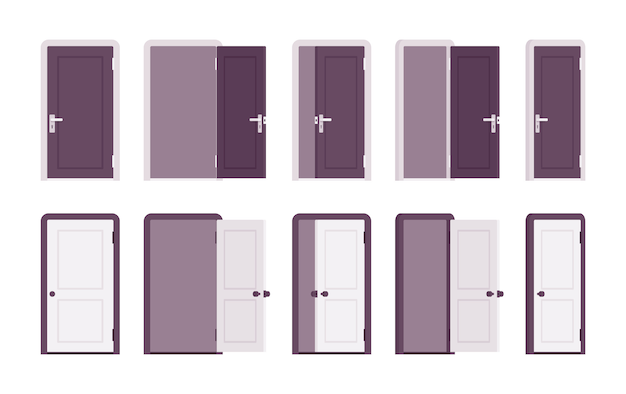 Комплект дверей в белом и черном Premium векторы