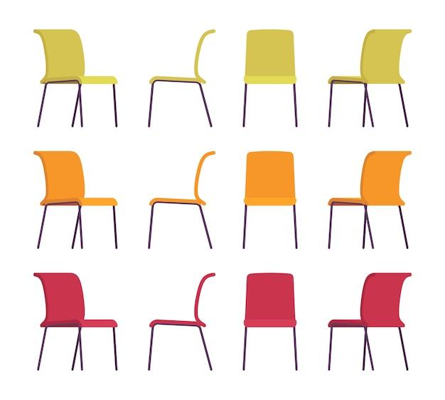 Набор офисных стульев разных цветов Premium векторы