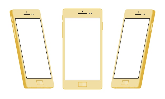 一般的なゴールドのスマートフォン Premiumベクター