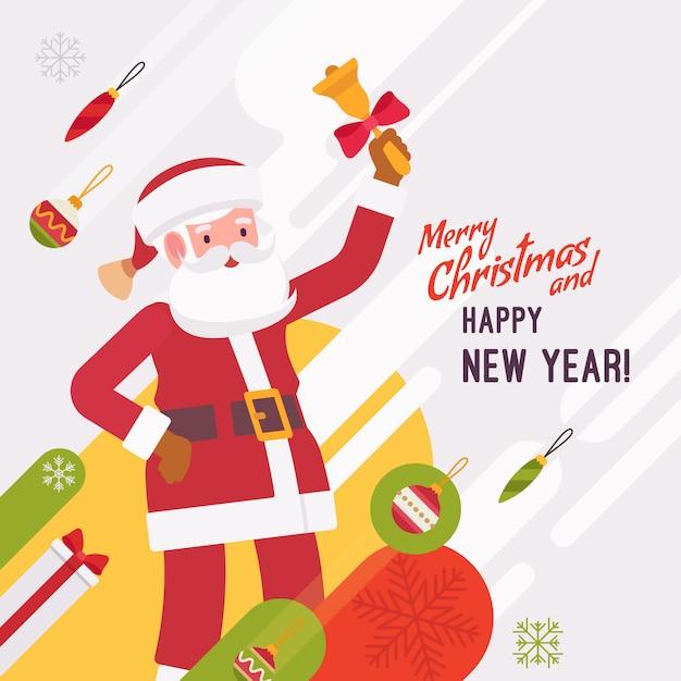 新年とクリスマスカードのテンプレート Premiumベクター