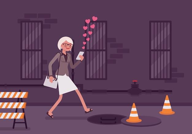 女性はスマートフォンで歩く Premiumベクター