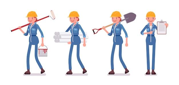 さまざまなツールと女性労働者のセット Premiumベクター