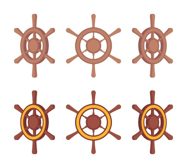 Набор деревянных корабельных рулей в разные стороны Premium векторы