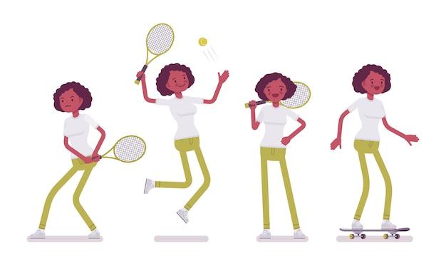 Набор черных или афро-американских молодая женщина, занятия спортом Premium векторы