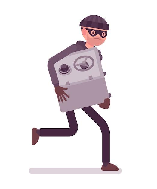 Вор в черной маске украл сейф и убегает Premium векторы