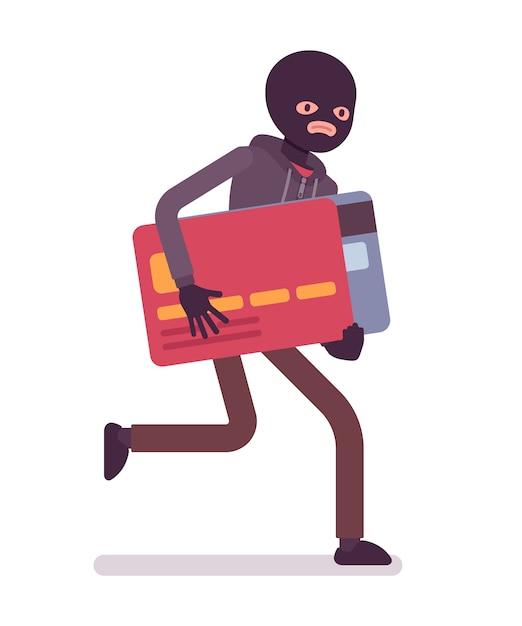 Вор в черной маске украл кредитку и убегает Premium векторы