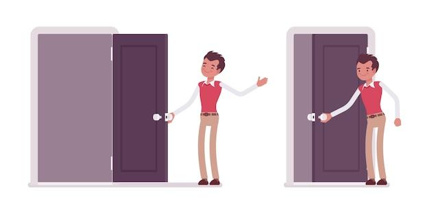 若い男性会社員のドアを開くと閉じるのセット Premiumベクター