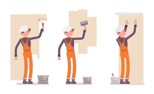 屋内の壁で全体的に作業オレンジの男性労働者のセット Premiumベクター