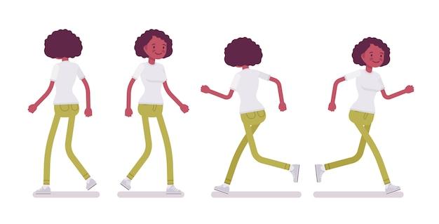 Набор черных или афро-американских молодая женщина, ходьба и бег Premium векторы
