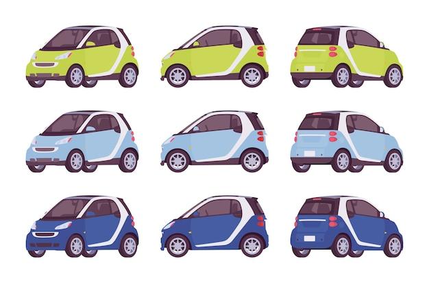 Комплект мини электромобилей зеленого, синего, темно-синего цвета Premium векторы