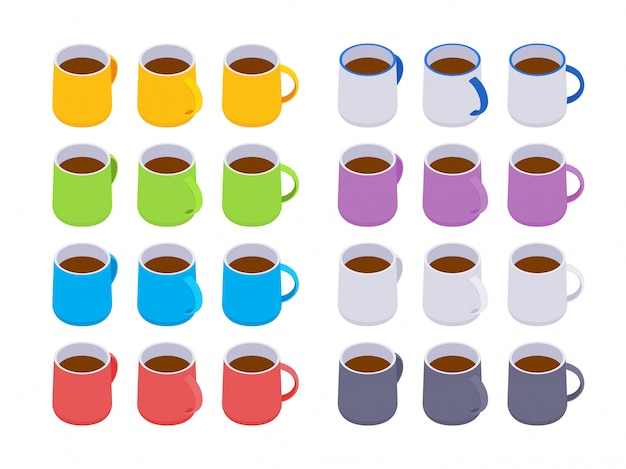 等尺性色のコーヒーマグカップのセット Premiumベクター