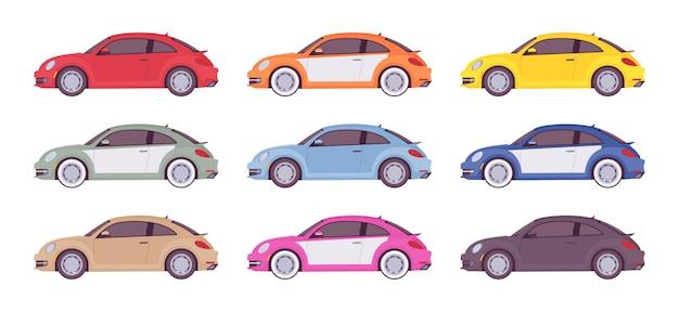 Набор экономичного авто в светлых тонах Premium векторы