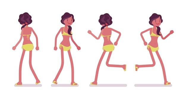 Молодая женщина в летний пляжный наряд, ходьба и бег Premium векторы