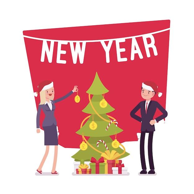 新年の木のお金の装飾 Premiumベクター