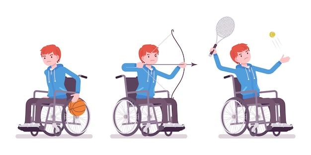 スポーツ活動をしている男性の若い車椅子ユーザー Premiumベクター