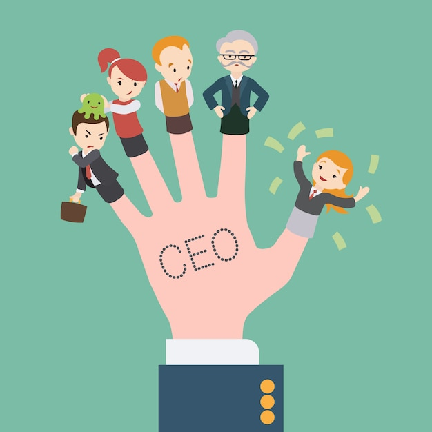 Рука с надписью генерального директора и офисных работников куклы на пальцах Premium векторы