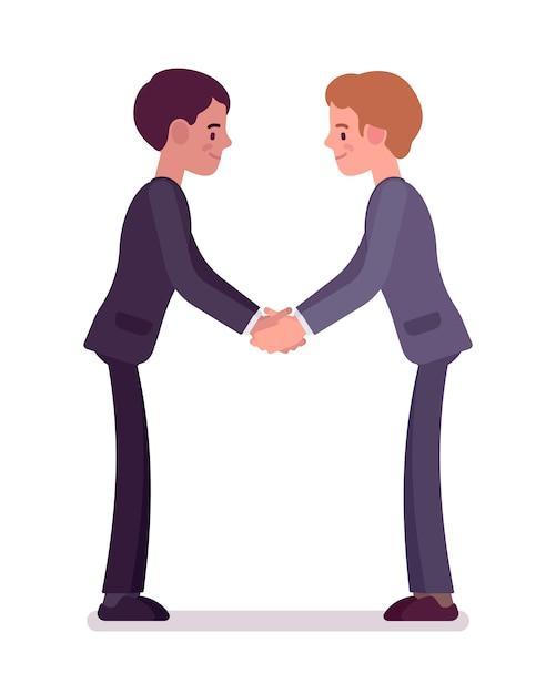 両手でビジネスパートナーのハンドシェイク Premiumベクター