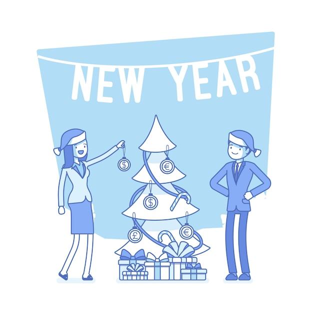 新年のオフィスツリーの図 Premiumベクター