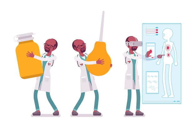 通行料を持つ黒人男性医師 Premiumベクター