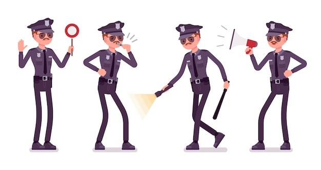 Молодой полицейский со знаменем света и сигналов Premium векторы