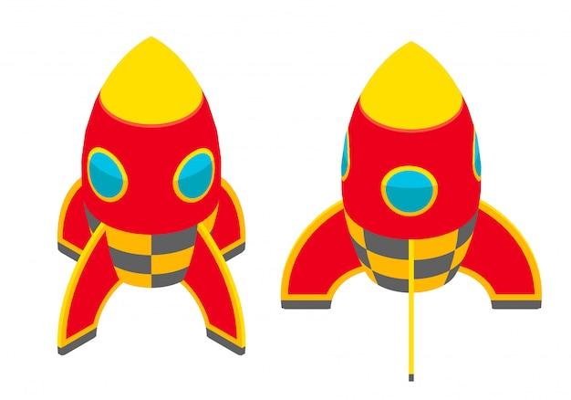 等尺性の赤いロケット Premiumベクター