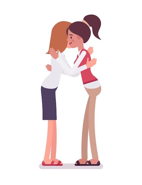 Женщины-клерки обнимаются Premium векторы