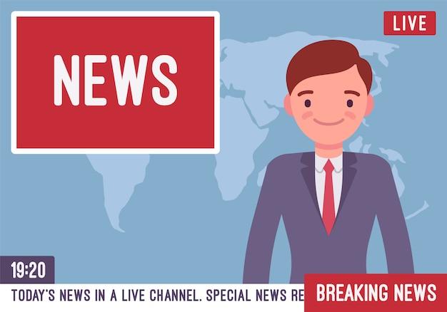 Ведущий телевизионных новостей Premium векторы