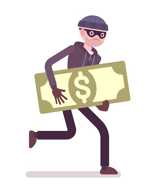 Вор в черной маске украл деньги и убегает Premium векторы