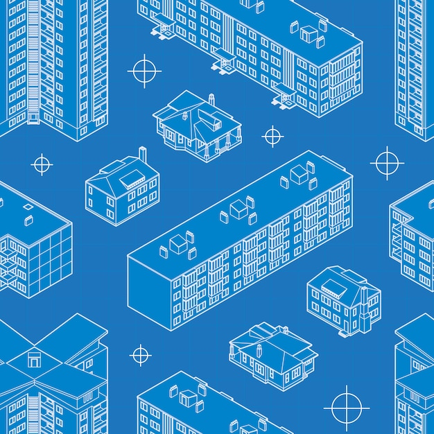 青写真住居の建物のシームレスなパターン。 Premiumベクター