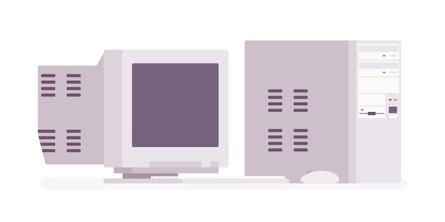レトロなパーソナルヴィンテージコンピューター Premiumベクター
