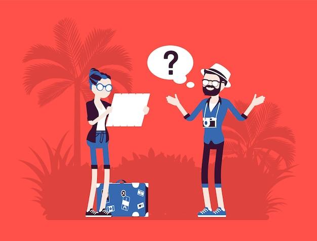 外国で失われた観光客 休暇中の人々は道を見つけることができず 方向を知らず ルートの計画がうまくいかず ナビゲーション 言語の問題 顔のないキャラクター のイラスト プレミアムベクター