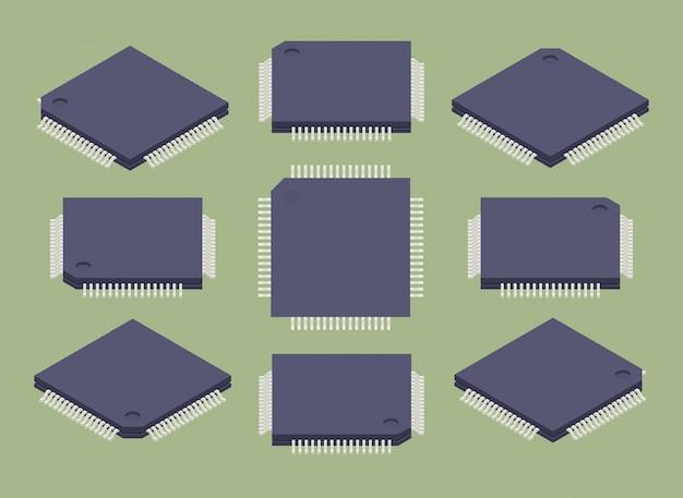等尺性マイクロチップのセット Premiumベクター