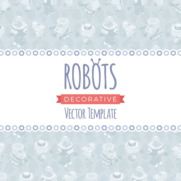 Векторный дизайн украшения из роботов Premium векторы