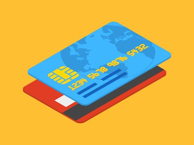 Изометрические кредитная карта на оранжевом фоне Premium векторы
