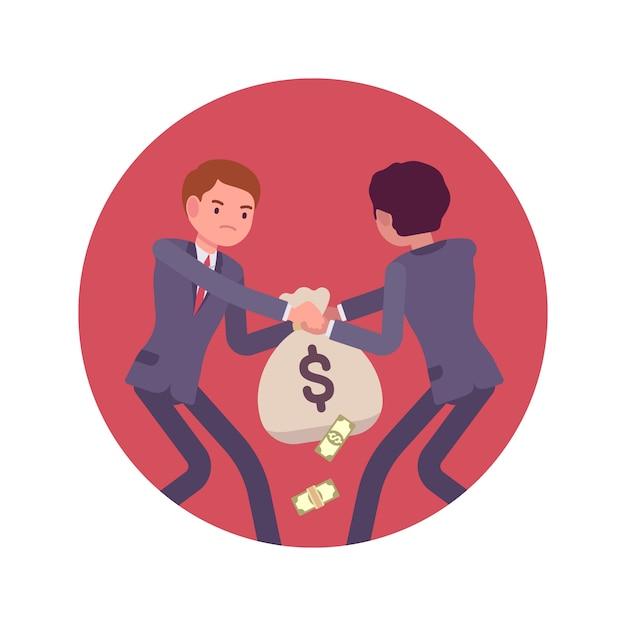 お金の袋のためのビジネスマン間の闘争 Premiumベクター