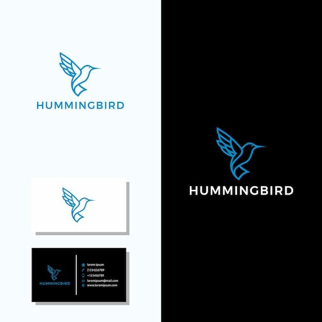 ハチドリのロゴ+名刺デザイン Premiumベクター