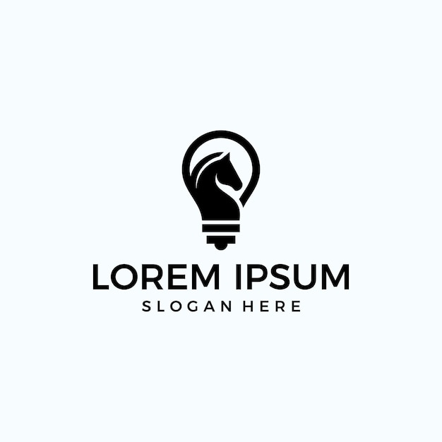 ランプ+馬のロゴ(テクノロジー) Premiumベクター