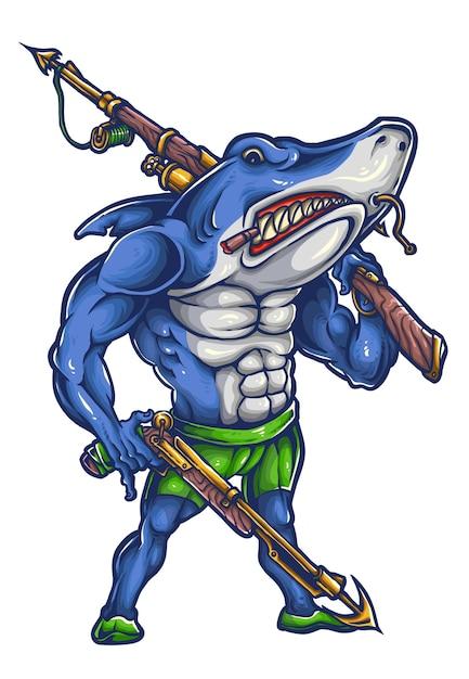 サメの復讐マスコットデザイン Premiumベクター