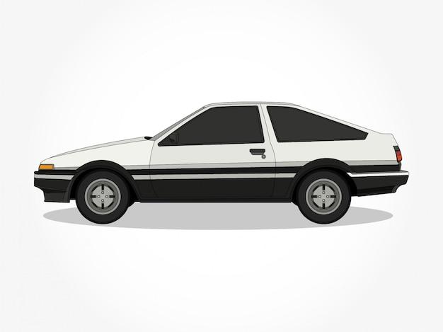 Подробные тела и колесные диски плоских цветных автомобилей мультяшный векторная иллюстрация с черным штрихом и эффект тени Premium векторы