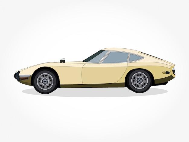 Детальный кузов и ободки желтой машины Premium векторы