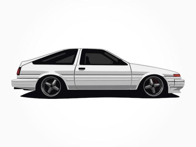 Пользовательские иллюстрации белый автомобиль Premium векторы