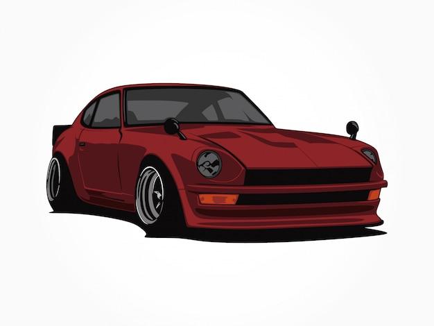 Пользовательские иллюстрации красный автомобиль Premium векторы
