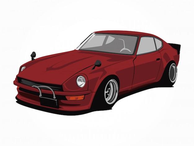 Пользовательские красный автомобиль векторная иллюстрация искусство Premium векторы