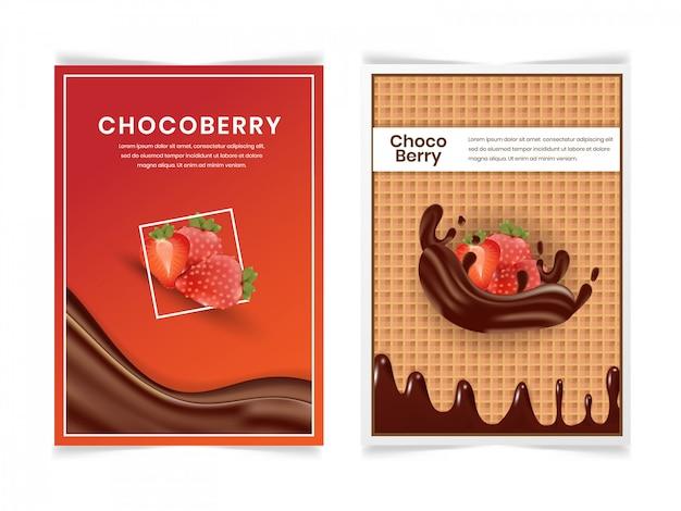 Набор клубника и шоколад молочный флаер дизайн шаблона Premium векторы