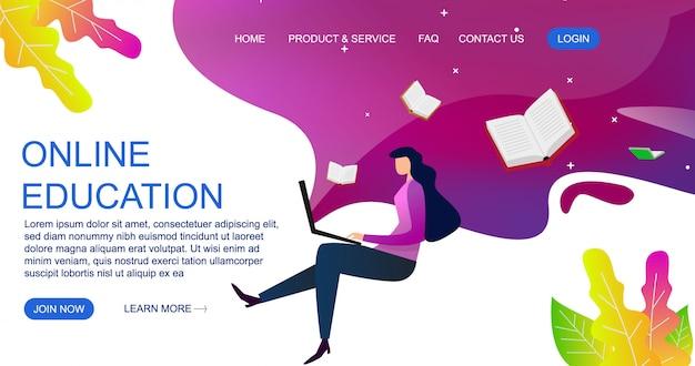 Плоская концепция проекта образования для шаблона вебсайта и целевой страницы. иллюстрация образования онлайн. Premium векторы
