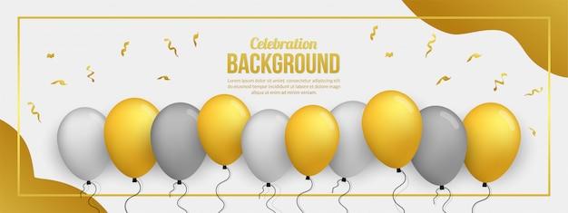 誕生日パーティー、卒業式、お祝いイベント、休日用のプレミアムゴールデンバロンバナー Premiumベクター