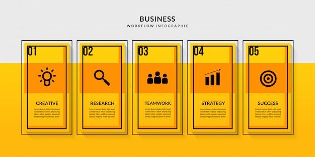 複数のオプションを備えたワークフローインフォグラフィック、ビジネスレポートのデータ通信の概要 Premiumベクター