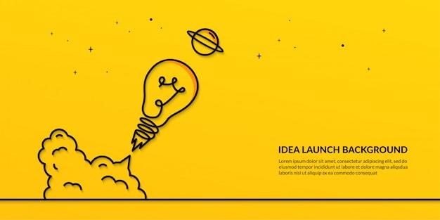 Лампа запускается в космический баннер, плоская идея запуска Premium векторы