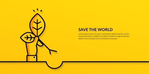 Спасти мир с рукой, держащей растение, плоская природа экология баннер Premium векторы