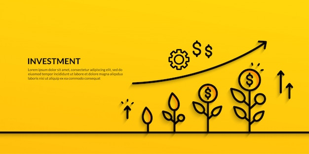 投資バナー成長ビジネスファイナンス Premiumベクター